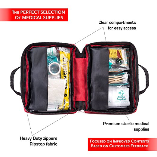 First Aid Kit for Car, Travel, Home, Office, Sports, Survival | Complete Emergency Bag fully stocked with high quality medical supplies
